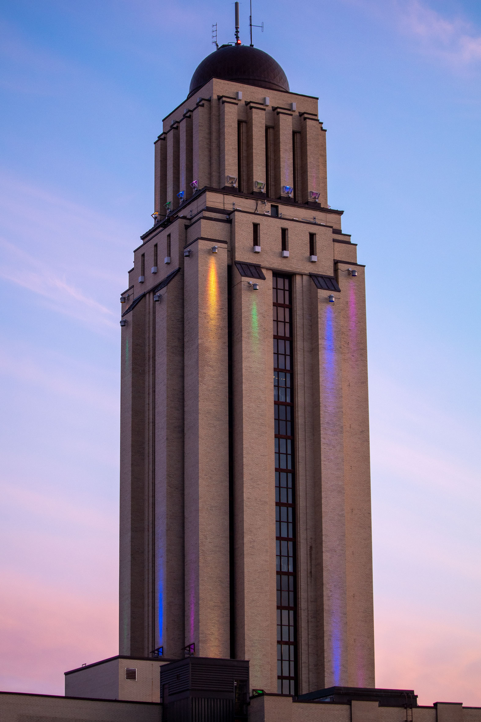Tower against a sunset sky